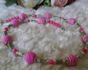 Statement necklace, Tornado-Collektion / Lady in pink / ethnic hippie