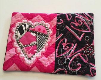 Valentine Mug Rug, Valentine Coaster, Table Decoration, Valentine Gift, Hostess Gift, Heart, Teacher Gift, Pink Heart, Pink Chevron, Pink