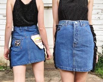 Vintage High Waisted Rare Blue Jean + Black Side Fringe Western Short Denim Skirt S 26