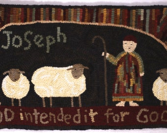 """PDF Joseph and the coat of many colors rug hooking pattern. Hooked Rug Pattern. A Sunday Rug depicts Joseph. """"God intended it for good."""""""