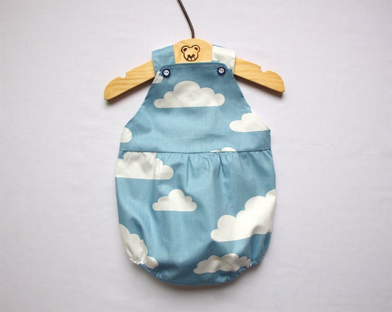 Sale blue white baby girl romper with cloud print romper sunsuit