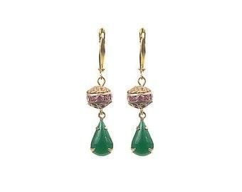 Earrings with Vintage Jade drops