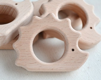 Unfinished Wooden Hedgehog Shape - Wooden Hedgehog Pendant - Unpainted Wood - Hedgehog Teether - Wooden Toy Hedgehog