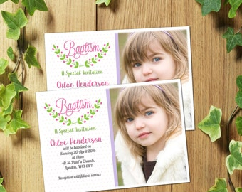 56 Personalised Christening Baptism Invitations Invites/Thank You Cards for Boy or Girl