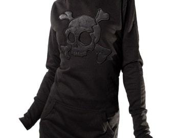 Embroidered Dress Hoodie  Leather Skull / Various Leather Available / Used leather / Snake / white