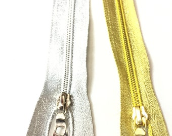 Gold OR Silver Metallic SEPARATING #5 Zippers in 26,24,22 Inches (1 Zipper)