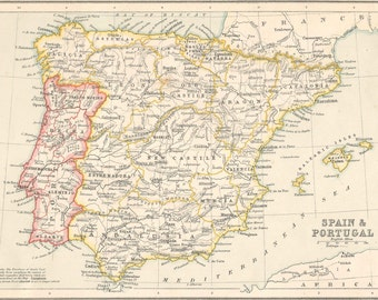 Spain & Portugal , Antique 1800s map old maps home decor Vintage Prints old maps