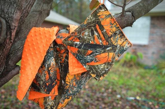 Custom camo blanket-hunter orange-Custom blanket-Minky blanket-Crinkle toy-paci holder-neon-baby shower gift-hunting-coming home-newborn