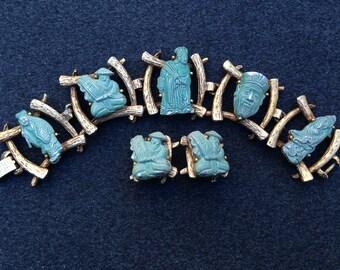 Vintage Green Asian Man Five Link Bracelet and Earring Set - Signed Colm