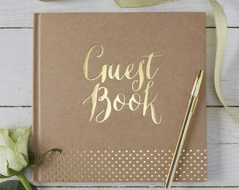 Gold Foiled Kraft Guest Book - Perfect for vintage feel weddings with a modern twist.