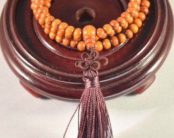 Kids Mala Necklace / 108 Wood Beads /  Hand Made Tassel  /  Elastic Necklace /  Hand Made for kids /