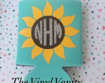 Monogram Sunflower Can Cooler, bridesmaids can cooler, monogram can cooler, sunflower can cooler