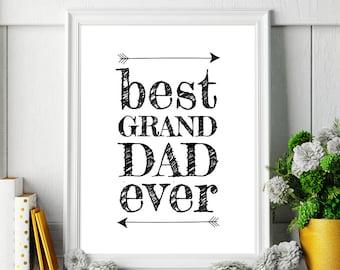 "Gift for Granddad ""Best Granddad Ever"" Fathers Day Gift Printable Wall Art Grandpa Gift Printable Poster *Instant Download DIY PRINT*"