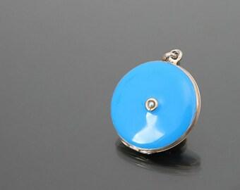 VICTOR MAYER Edwardian Baby Blue Locket. 935 Sterling Silver Enamel Pendant, Robins Egg, Pearl Photo Pendant