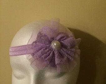 Headband, baby headband,girls headband, toddler headband, baby bow headband, hair bow ,Layered lace headband