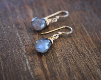 Labradorite Briolette Earrings, Gemstone Dangle Earrings, Wire Wrapped Gemstone Earrings