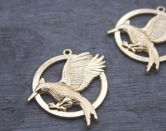 10pcs gold tone bird Catching Fire Charm Pendants 35 mm D0014