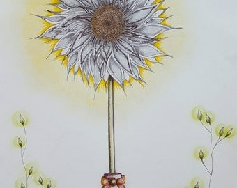 Art Drawing Sunflower In Wellington Boot Drawing
