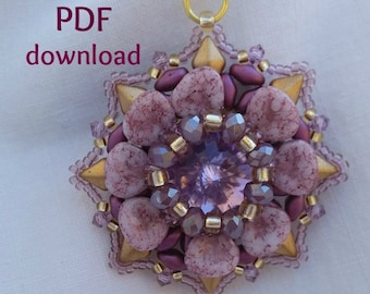 tutorial PDF pendant Yela, pattern PDF, step by step, superduo pendant, petal beads, diamonduo tutorial,