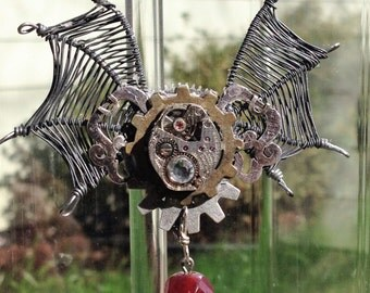 Wire bat wing steampunk necklace