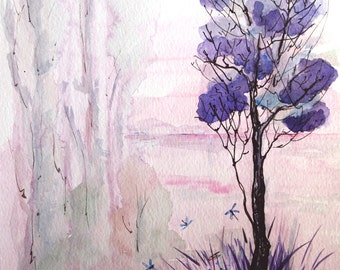 Landscape painting, ORIGINAL painting of treescape, Landscape watercolor painting, 8x10, original watercolor painting, treescape watercolor