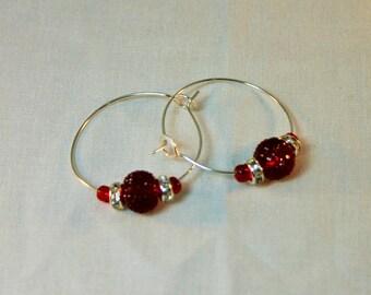 2-E-4120-2:  Red Hoop earrings