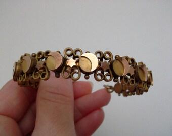 Moon Star Bracelet, Victorian Bracelet, Antique Star Bracelet, Crescent Moon Bracelet, Slide Bracelet, Moon Star Jewelry, Victorian Jewelry
