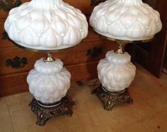 Beautiful Milk Glass Gone with the Wind hurricane table lamps with Quilted Pattern Ruffle