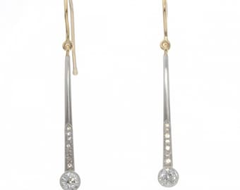 Earrings diamonds Vintage Antique Edwardian | old European diamonds | platinum | 14 kt gold | dangling drop | upcycled from Edwardian brooch