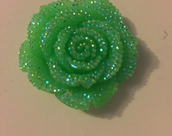 Green 40mm flat back resin flower
