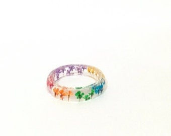 Pressed Flower Resin Jewelry- Real Flower Ring-  Resin Ring made with Real Flowers- Rainbow Ring