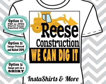 Construction Trucks- Name - Digital File, Transfer or Tshirt