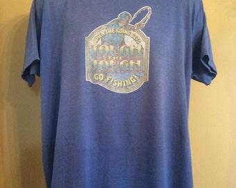 Vtg 70s 80s Fishing T-Shirt Blue XXL Paper Thin 50/50 Distressed