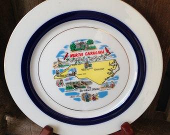 Vintage North Carolina Souvenir Plate, Kitschy Plate