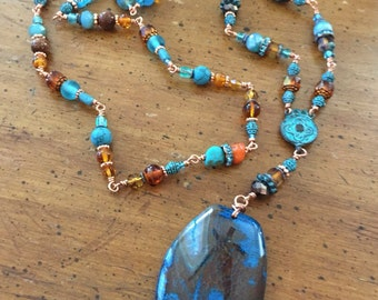 Blue Dragon Vein Agate Pendant with Hand Beaded Copper Wire