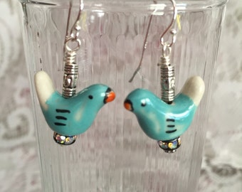 Whimsical Turquoise Blue Bird Dangle Earrings