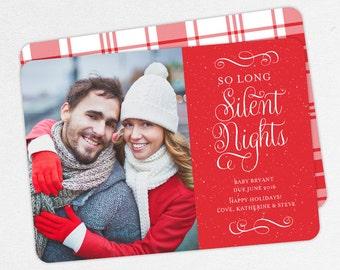 So Long Silent Nights Cards, Holiday Pregnancy Announcements, Christmas Baby Announcements, Not So Silent Nights Christmas Cards, Printable