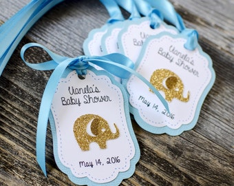 12 Elephant Personalized Baby shower Favor tags, Gold Elephant