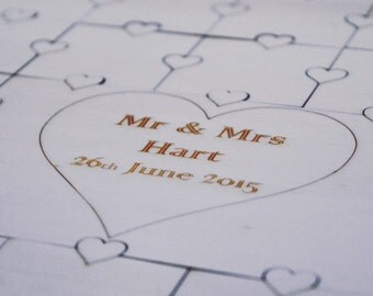 Heart guest book puzzle jigsaw, personalised guestbook, guestbook alternative,  Wedding, wedding shower.Available with 82, 63 and 32 pieces.