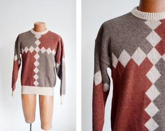 "1980s Diamond Pattern Sweater - 41"" Chest"