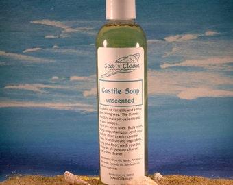 Castile Liquid Soap / Cleaning Soap, Natural Cleaning, All Purpose Cleaner, Shower Gel, Liquid Castille soap, Scented Soap, Unscented Soap