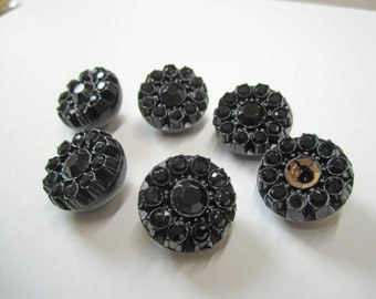"""Vintage Large Black Rhinestone Buttons Antique Collection 3/4"""""""
