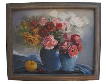 Still Life Oil on Canvas Painting, Signed Kiryako