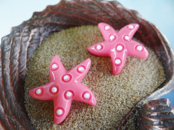 Earring Earrings Studs Stud ARIEL Nautical Shell Seashell STARFISH star fish Beach Mermaid Pinup Rockabilly I'm really a Im The Little