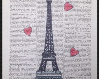 Vintage Eiffel Tower Paris Dictionary Print Picture Wall Art Love Heart French