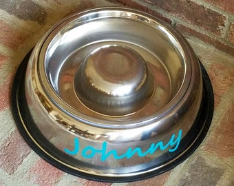 Go Easy Slow Feed Dog Bowl - Personalized with Your Dog's Name!