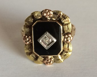 FLASH SALE Vintage 10k Tri-Color Gold Onyx and Diamond Ring, 1930's Vintage Ring, Size 4.75