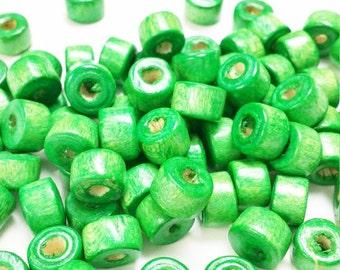 Natural Wood Beads, Wood Beads Bulk, 90 Wooden Beads, 6mm x 9mm wooden beads, Wood, Supplies Beads, Green Wood Beads,  w19