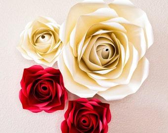 Set of 4 Giant Paper roses, decoration, Summer,Spring, giant paper flower, wedding backdrop, giant paper flowers, paper flowers