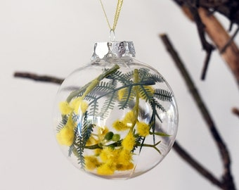 Set of 4 Australian Golden Wattle Christmas Baubles